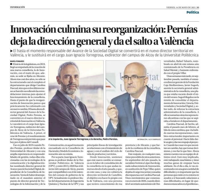 Juan Ignº Torregrosa, nuevo Director General de Avance de la Sociedad Digital